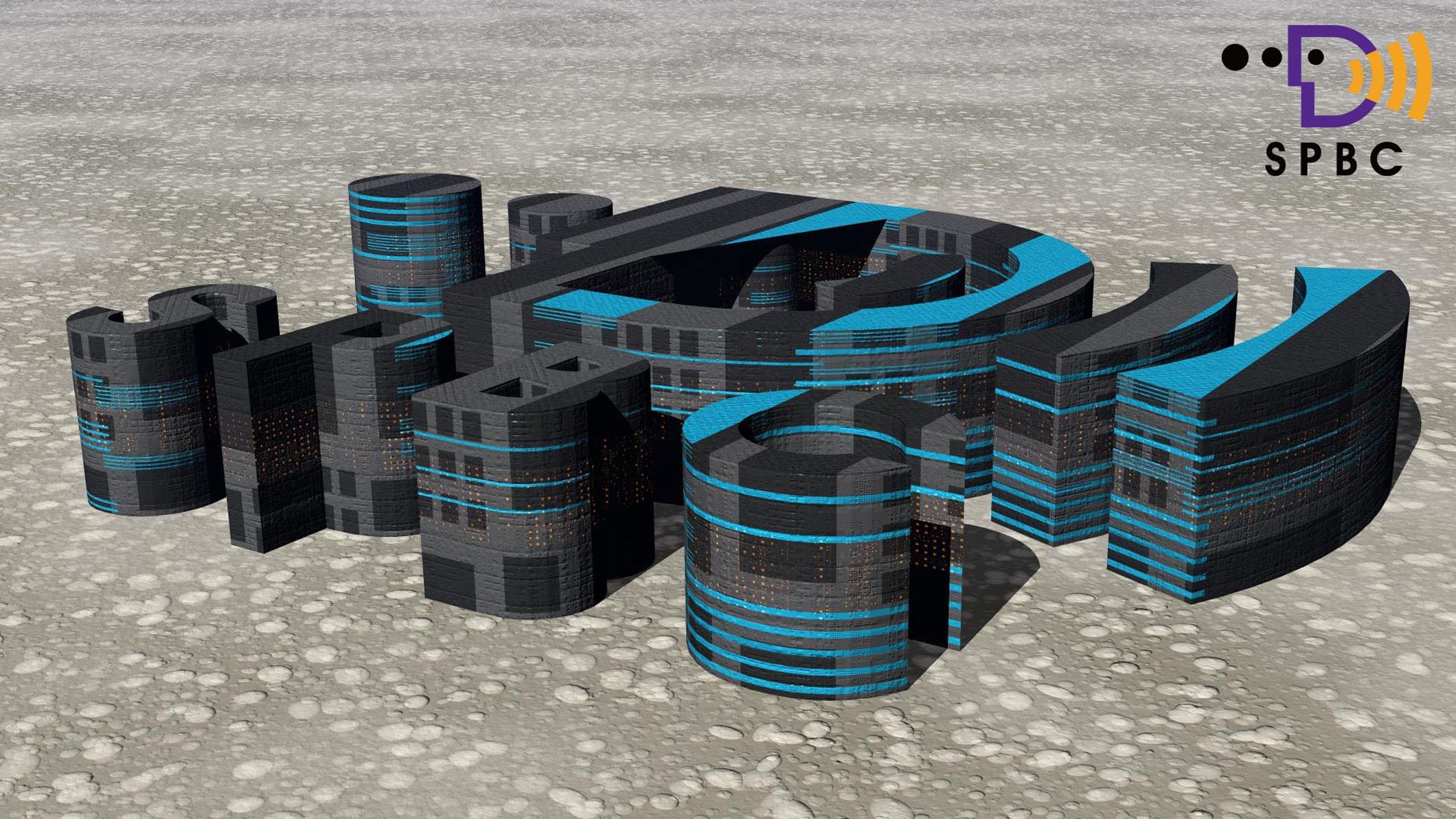 3D LOGO 科幻建築
