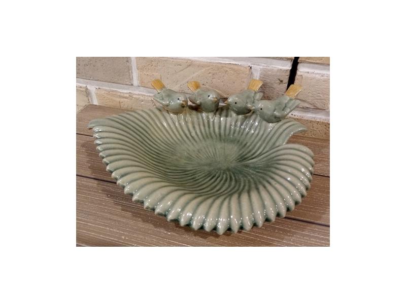 Bunny House~荷葉果盤–911–DC012(果盤.糖果盤.荷葉.小鳥.葉子.綠葉