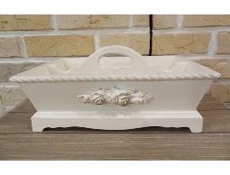 Bunny House~雕花提把收納盒–911–BW039(刷白.白色.玫瑰.浪漫.置物盒