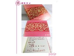 【喜帖】650175 金色花紋邊框囍字粉色質感結婚喜帖可燙金