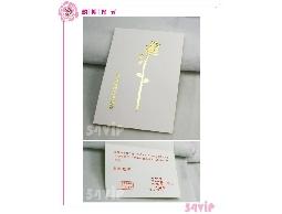 【邀卡】287128 金色花朵白色素雅邀請卡可燙金