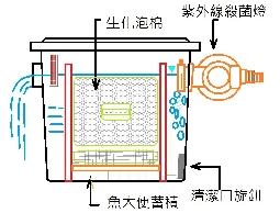 魚池過濾桶,錦鯉池過濾桶,含UVC紫外線殺菌燈,內部結構