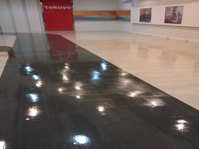 門市~塑膠地板清洗上蠟後
