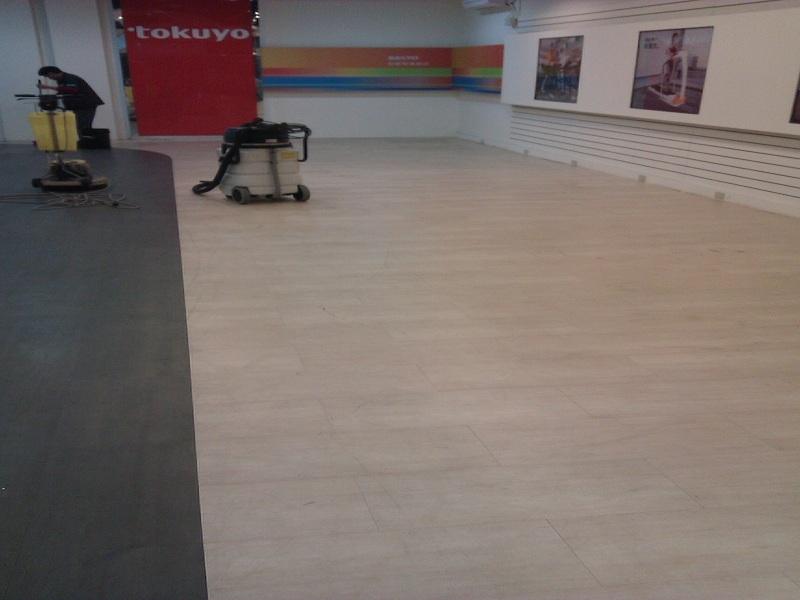 門市~塑膠地板清洗上蠟前