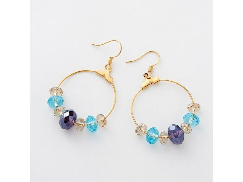 幻紫藍水晶圈圈耳環