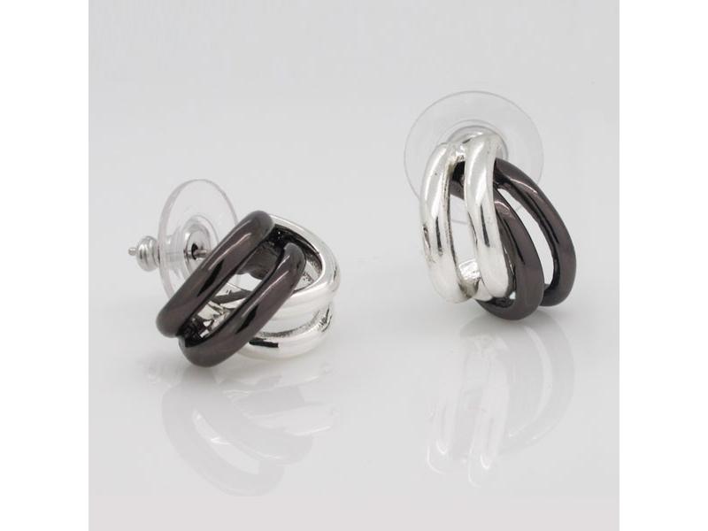 知性美感銀黑多線圈耳環#020010A080005