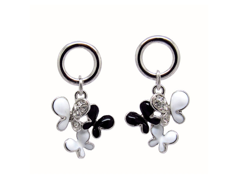 春之蝶舞黑白釉彩水鑽耳環#030020A070015
