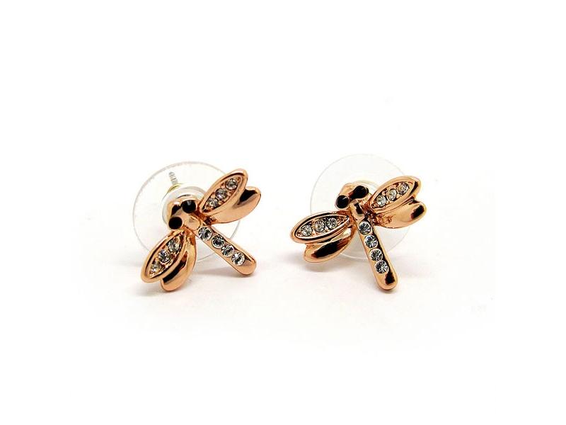 築夢蜻蜓玫瑰金水鑽耳環#030020A080010