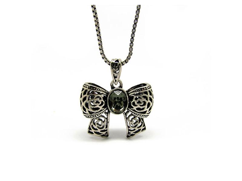 復古童趣蝴蝶結水鑽項鍊#030020B080008