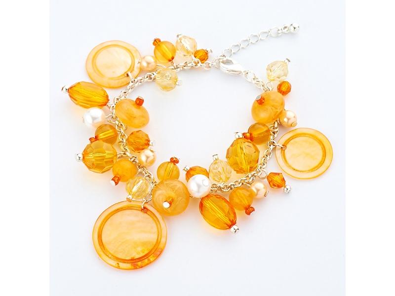 青春俏麗橙色貝殼水晶珠珠手鍊#027005D020001