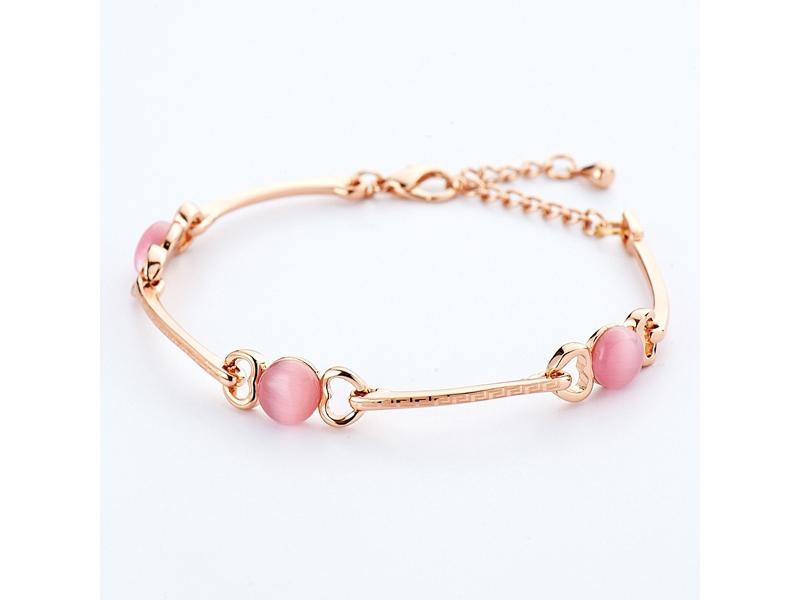 甜美愛戀粉紅色貓眼石愛心框復刻手鍊#026020D010001