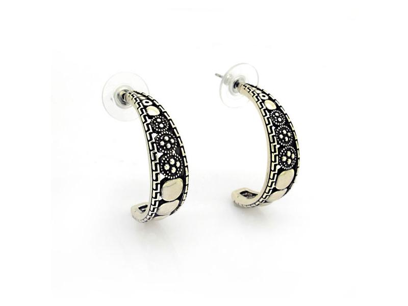 異國情調古銀鏤空雕刻耳環#030020A080018