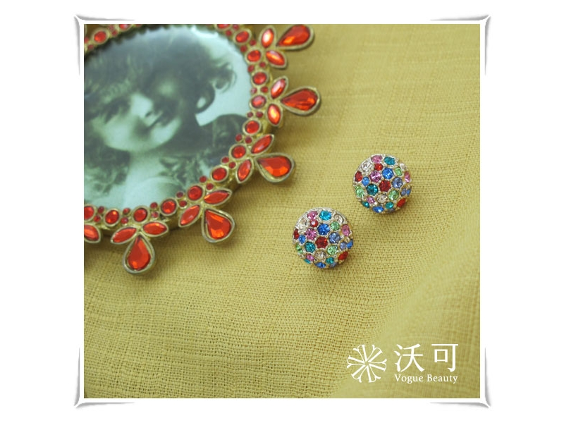 元氣滿分色彩繽紛圓形水鑽耳環#017009A100002