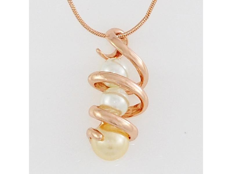 典雅時尚雙色珠珠螺旋玫瑰金項鍊#025010B080005