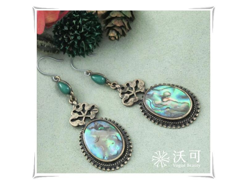 典藏宮廷風綠色秀娟貝殼耳環#028015A040001
