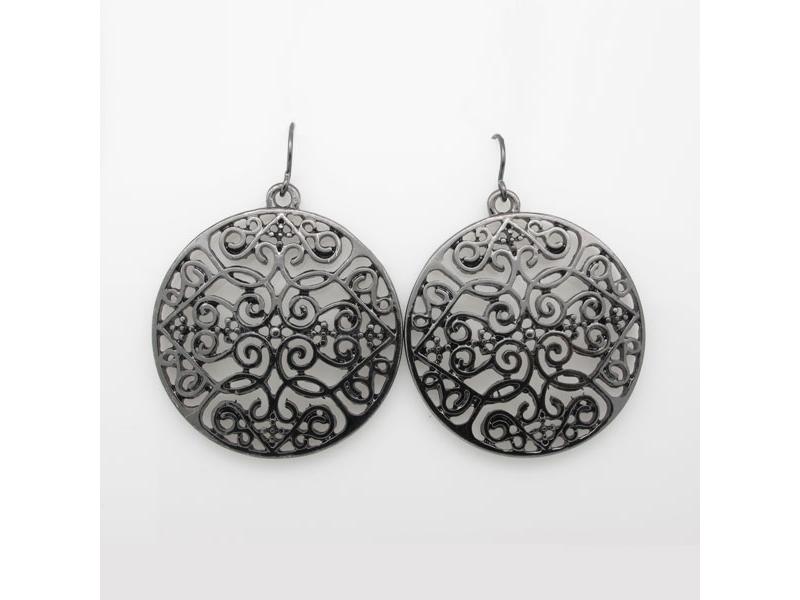 歐美復古風潮黑色鏤空雕花耳環#023015A070004