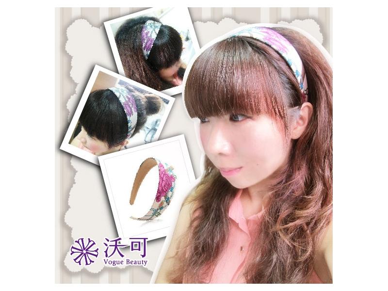 粉紅色淑女氣質印花布藝寬髮箍#015009C010009