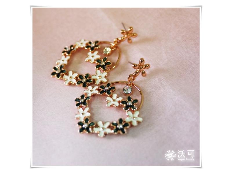 甜漾愛心雙色小花水鑽玫瑰金耳環#024010A080006