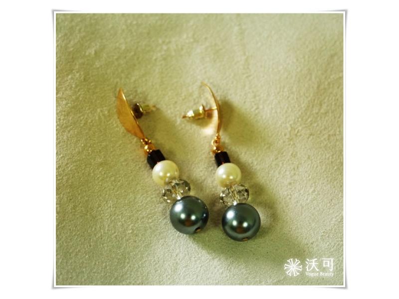 金色葉片灰色串珠水晶耳環#002007A070001