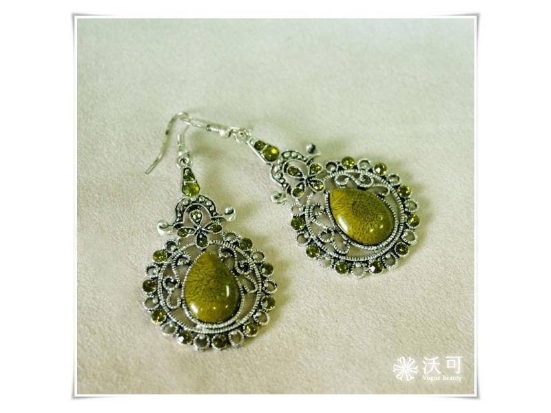 古典巴洛克式綠水鑽耳環#008002A040002