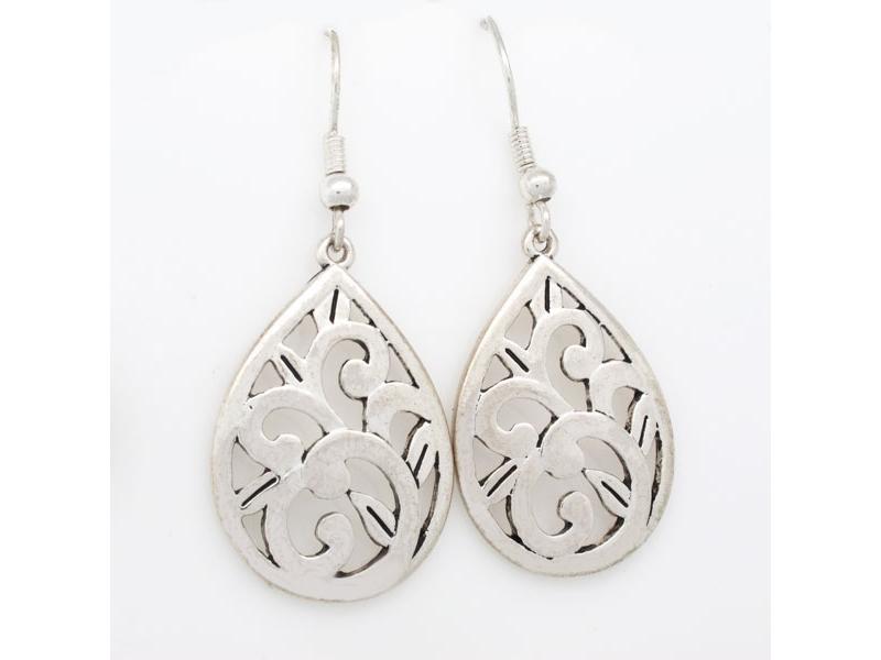 花漾年華獨特刻紋水滴耳環#012015A080006