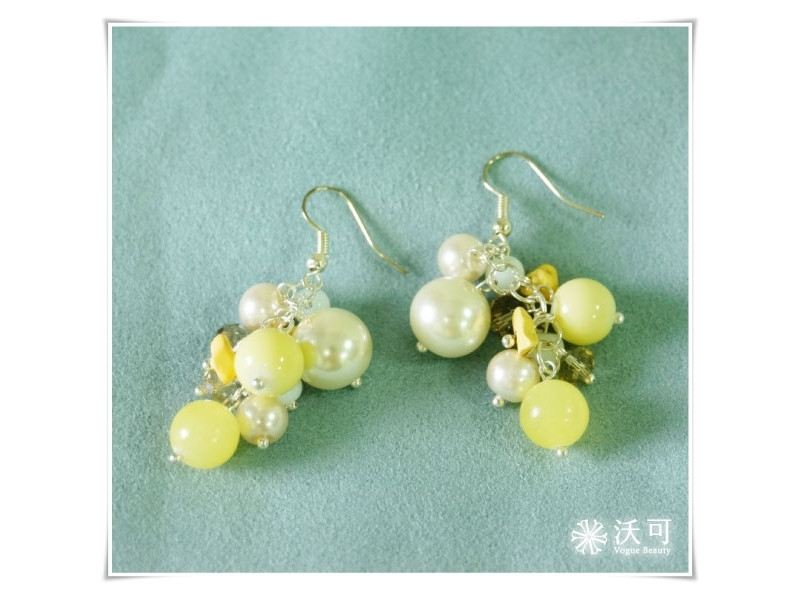 甜美日系黃彩石白珠耳環#008002A040002