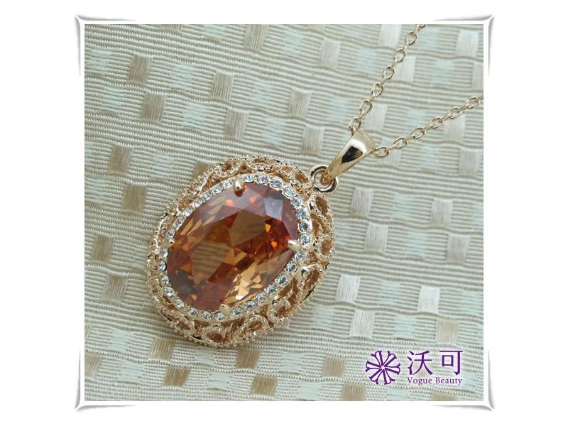 華麗宮廷風金邊橙水晶鑽項鍊#024010A080017