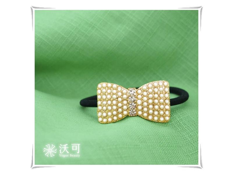 糖心之鑽白色珠珠水鑽蝴蝶結髮束#021009C070003