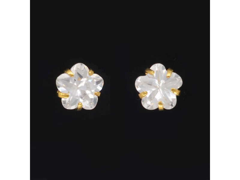 透明純淨花兒水晶燦耀耳環#017009A090006