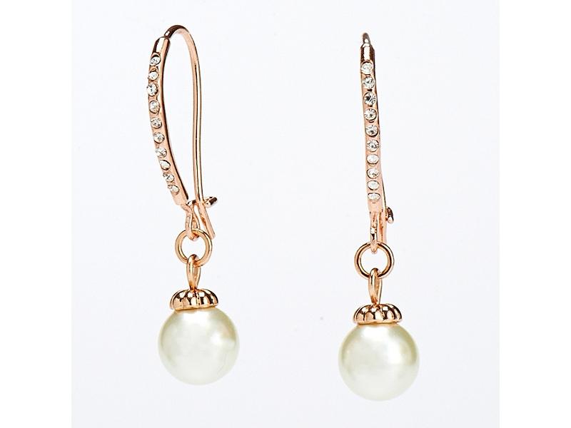 優雅細緻水鑽珠珠玫瑰金耳環#024010A070017