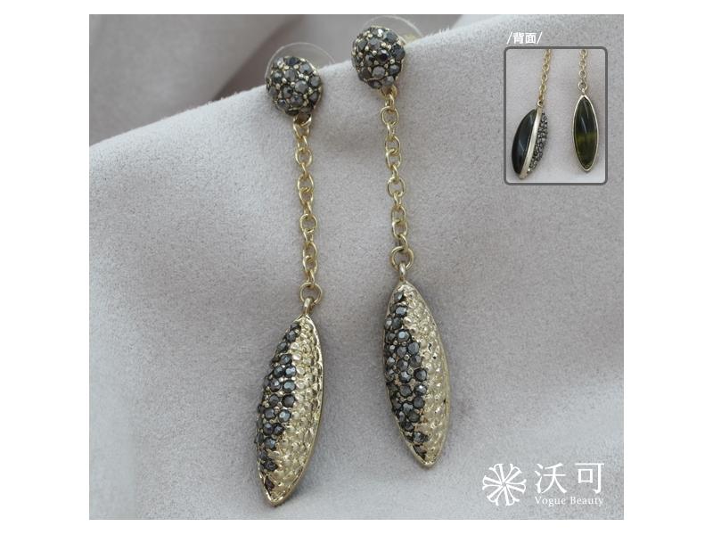 個性柔美綠黑色水鑽耳環#029019A040003
