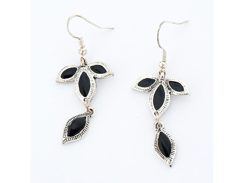 自然優雅黑色葉子銀質耳環#028015A070003