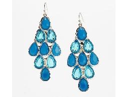 沁涼仲夏藍色水滴型耳環