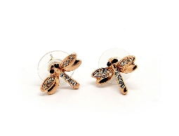 翩翩飛舞蜻蜓水鑽古銀耳環
