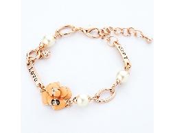 法式浪漫橙色花朵復古LOVE手鍊#026020D020006
