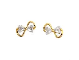 純淨甜美蝴蝶結水晶耳環#030020A080013