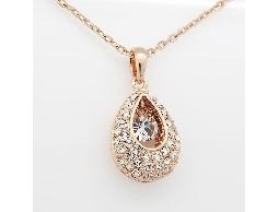 美艷款水滴造型透明水晶鑽項鍊#016009B090004