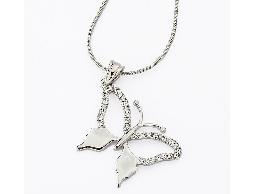 輕舞綻放水鑽蝴蝶銀色項鍊#025010B080016