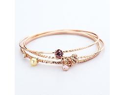 多層次質感蝴蝶結小物玫瑰金手環#026020D080001