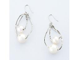纏繞交心白色珠珠銀質耳環#027005A070001