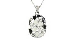 輕熟魅力銀質黑白小花水鑽項鍊#025010B080001