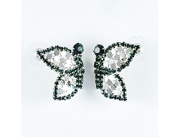 輕巧飛翔銀色閃亮綠光蝴蝶水鑽耳環#024010A040001