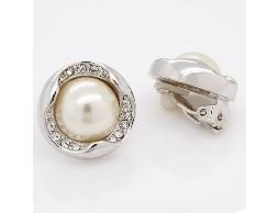 古典氣息白色珠珠水鑽夾式耳環#014008A070008