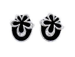 簡約迷人花兒水鑽耳環#030020A070016