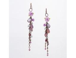 優美浪漫紫玫瑰花愛心水晶耳環#007001A060010