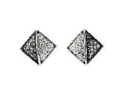 迷人單品雙色水鑽方型耳環#024010A070020