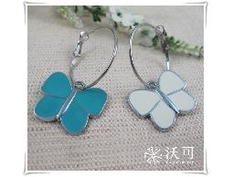 藍白雙蝴蝶耳環#006007A050001
