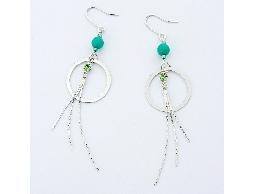 簡約質感綠色水鑽珠珠流蘇耳環#027005A040002