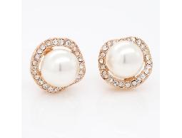 輕甜婉約金邊水鑽白色珠珠耳環#017009A070019