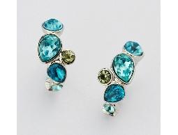 藍彩冰沁水鑽夾式耳環#029019A050001